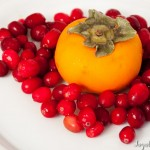 Fuyu persimmon and cranberries