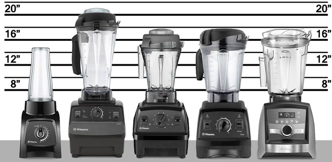 Vitamix blender lineup of S-Series, C-Series, and G-Series models