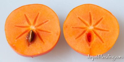 Cut persimmon with seed