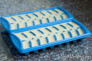 Pistachio sorbet in ice cube trays