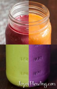 4 smoothies: beet, orange, purple sweet potato, and kiwi cilantro mango