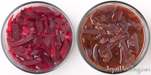 Cooked beets, with and without browning