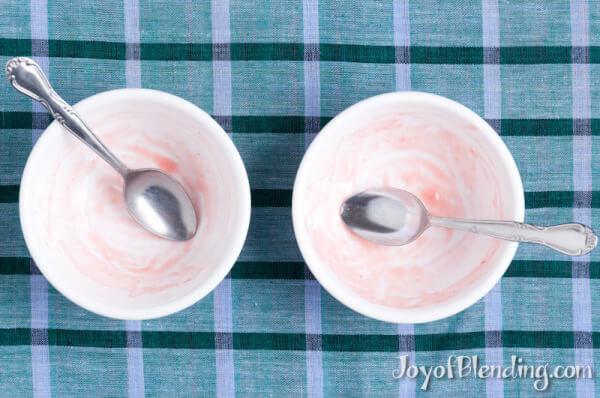 Empty strawberry frozen yogurt bowls