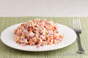Vitamix-chopped cabbage salad with peanut dressing