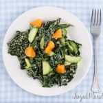Macadamia Tangerine dressing on massaged kale salad