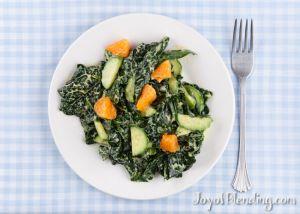 Macadamia Tangerine dressing on massaged kale salad