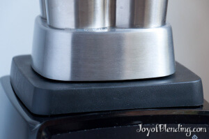 Stainless Steel Waring container on Vitamix with gap