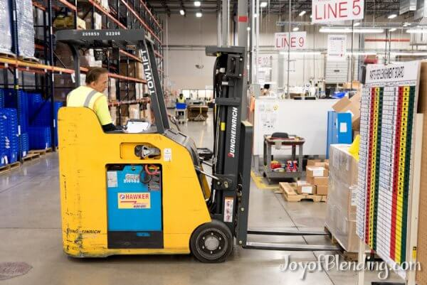 Forklift delivering parts in Vitamix factory