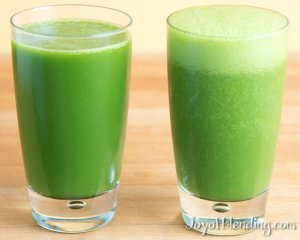 Vacuum and non-vacuum blended green juice