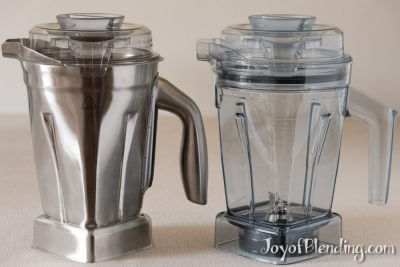 Stainless steel vitamix container next to Tritan 48-oz container